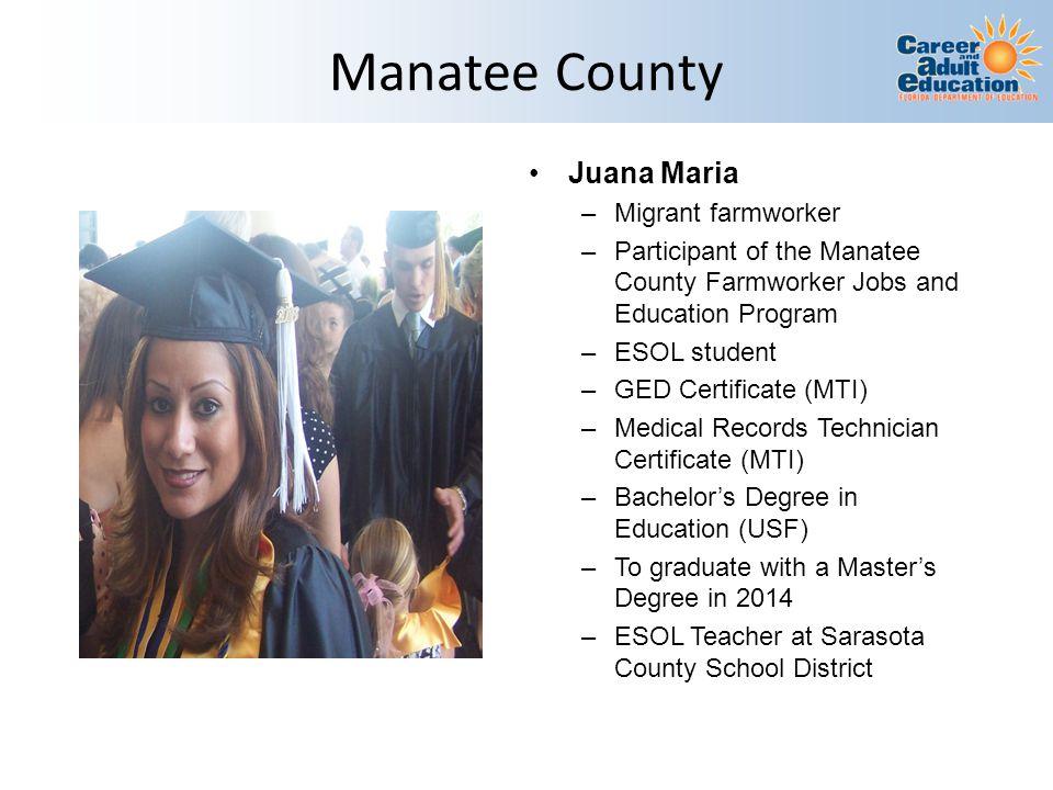 Manatee County Juana Maria Migrant farmworker