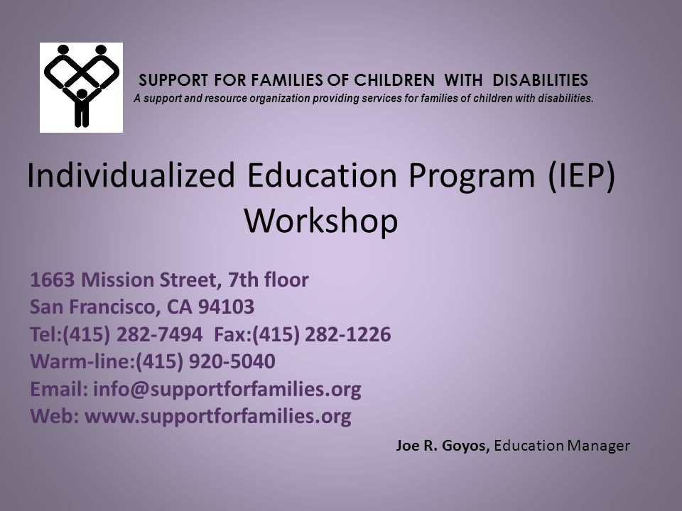 Individualized Education Program (IEP) Workshop