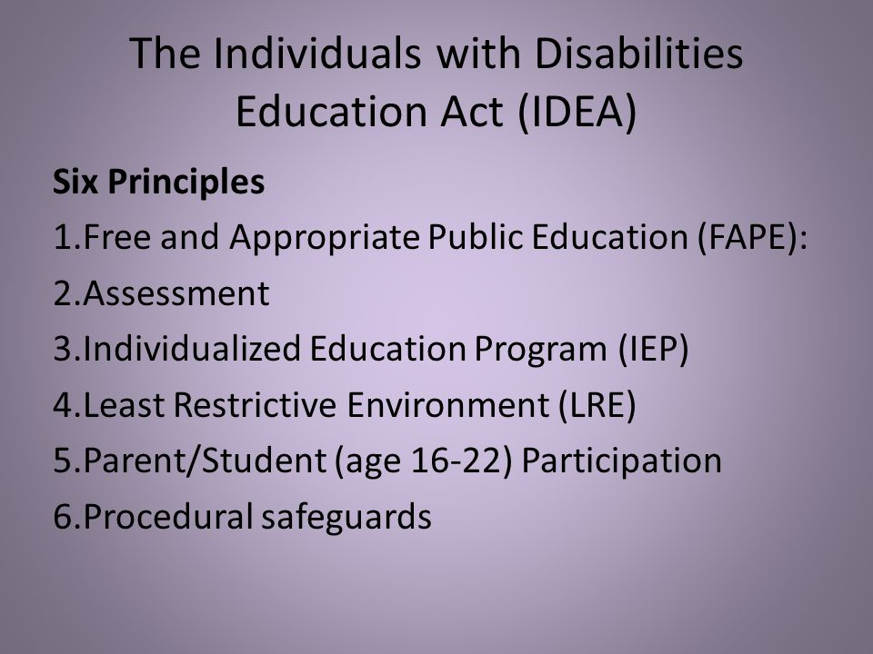 The Individuals with Disabilities Education Act (IDEA)