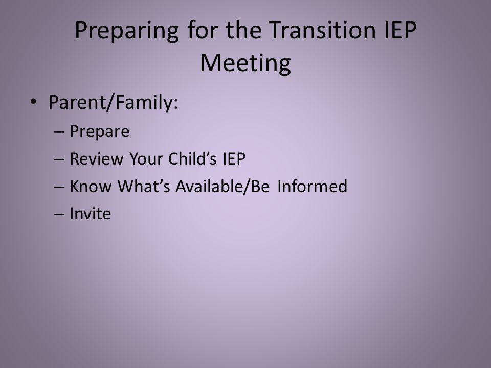 Preparing for the Transition IEP Meeting