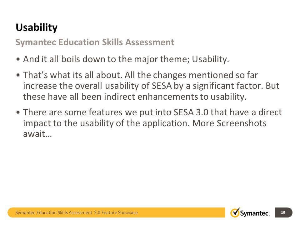 Usability Symantec Education Skills Assessment