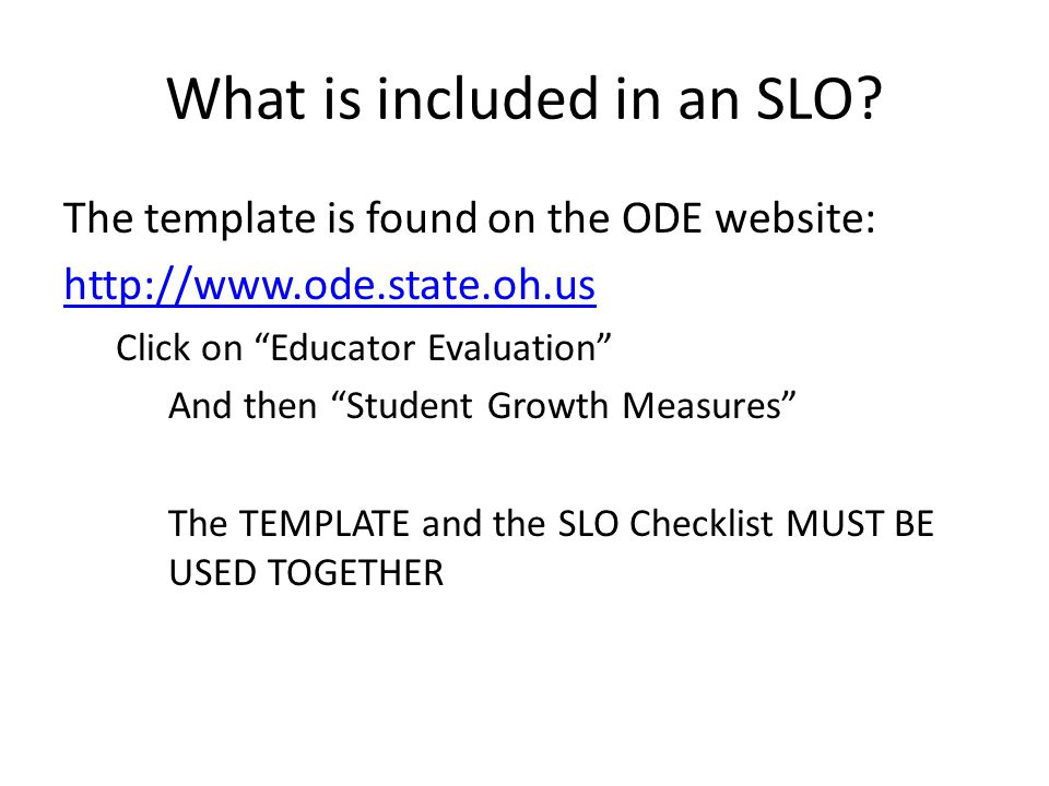 Student learning objectives slos student growth measures for Ohio slo template