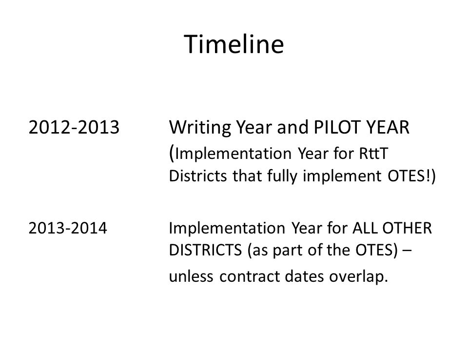 Timeline 2012-2013 Writing Year and PILOT YEAR (Implementation Year for RttT Districts that fully implement OTES!)