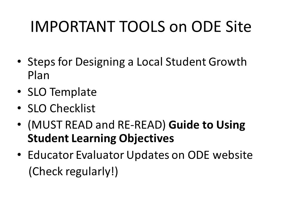 IMPORTANT TOOLS on ODE Site