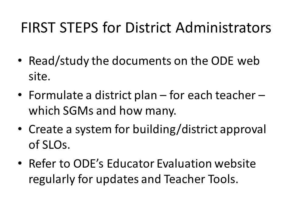 FIRST STEPS for District Administrators