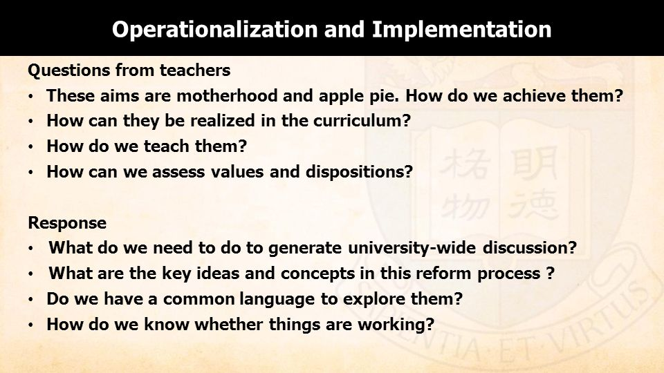 Operationalization and Implementation