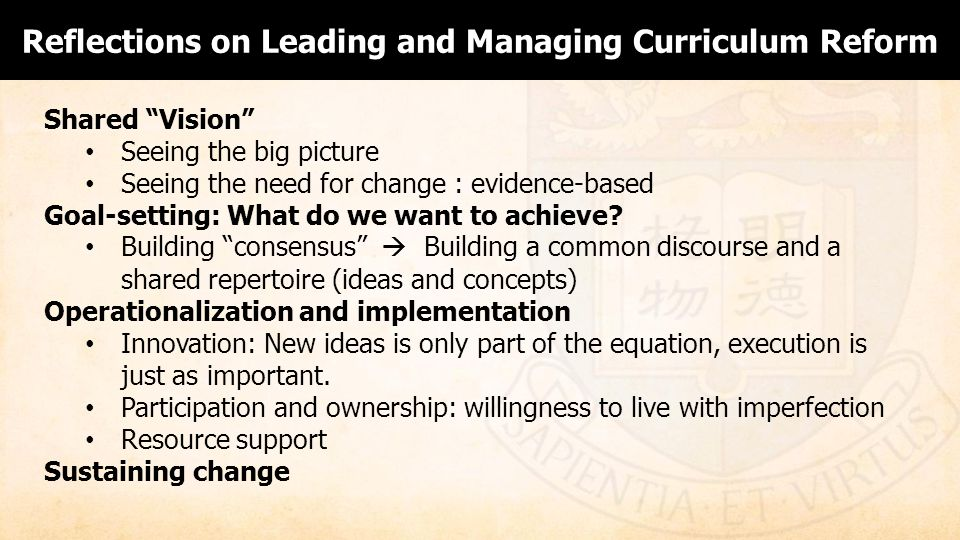 Reflections on Leading and Managing Curriculum Reform