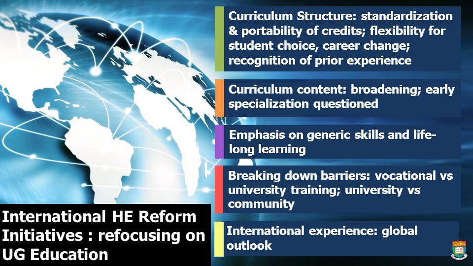 International HE Reform Initiatives : refocusing on UG Education