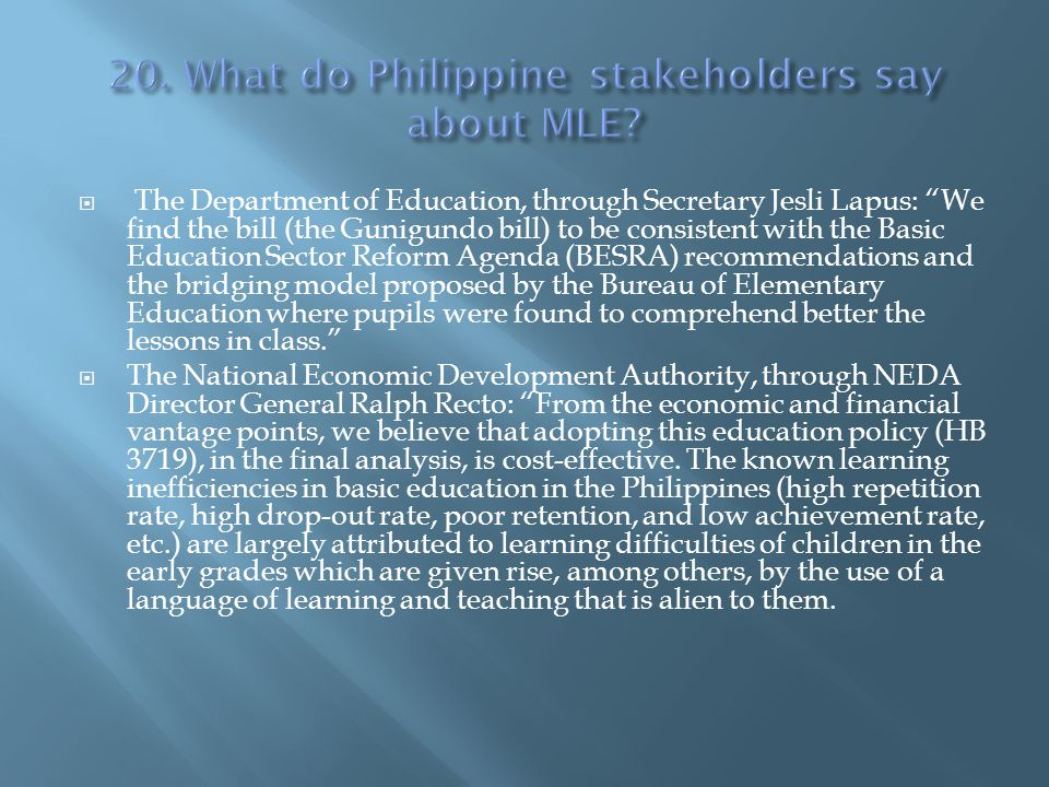 20. What do Philippine stakeholders say about MLE