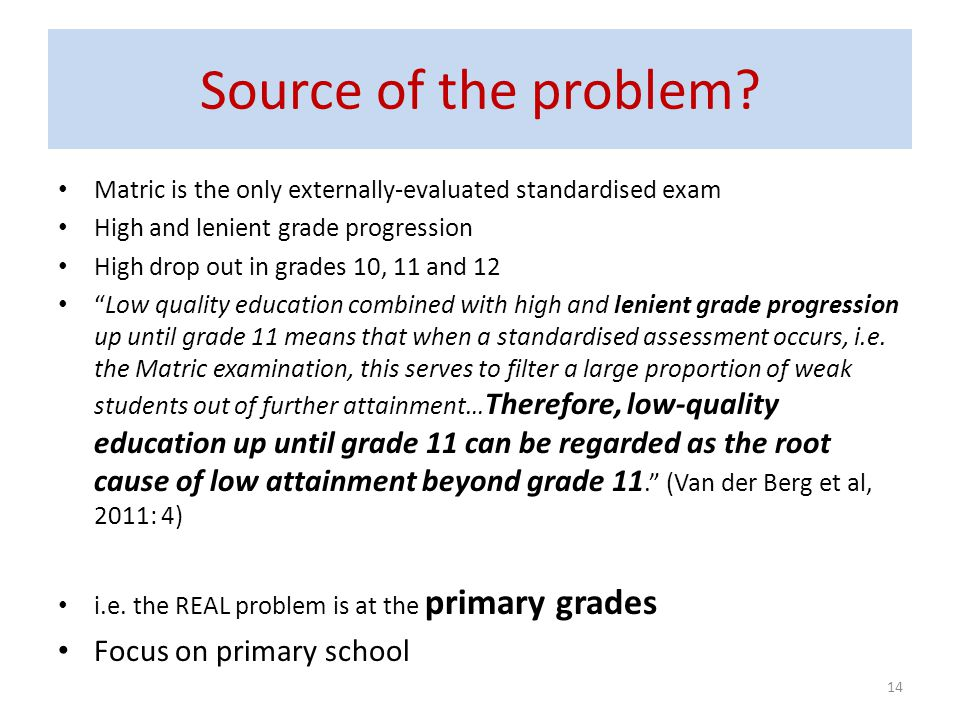Source of the problem Focus on primary school