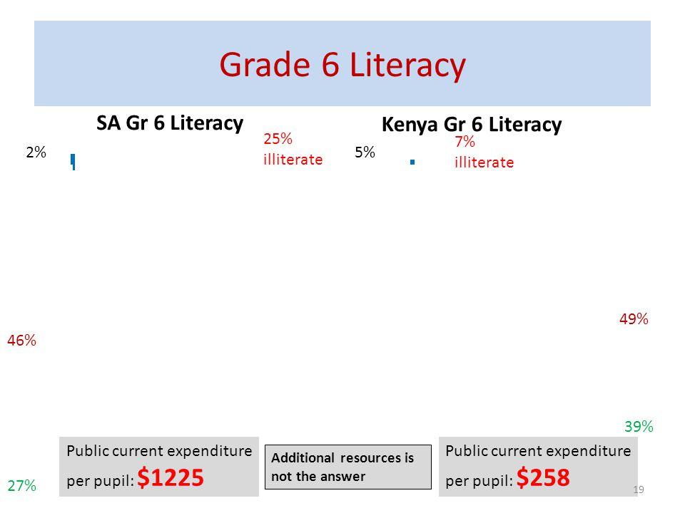 Grade 6 Literacy SA Gr 6 Literacy Kenya Gr 6 Literacy 25% illiterate