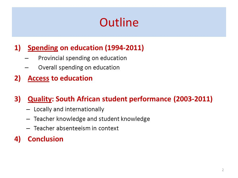 Outline Spending on education (1994-2011) Access to education