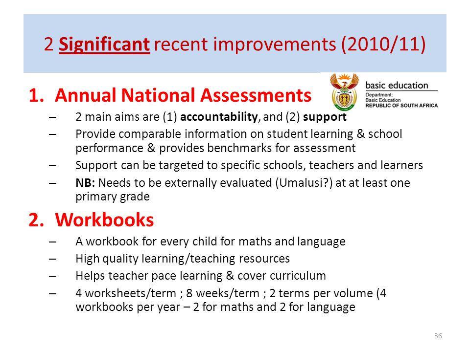 2 Significant recent improvements (2010/11)