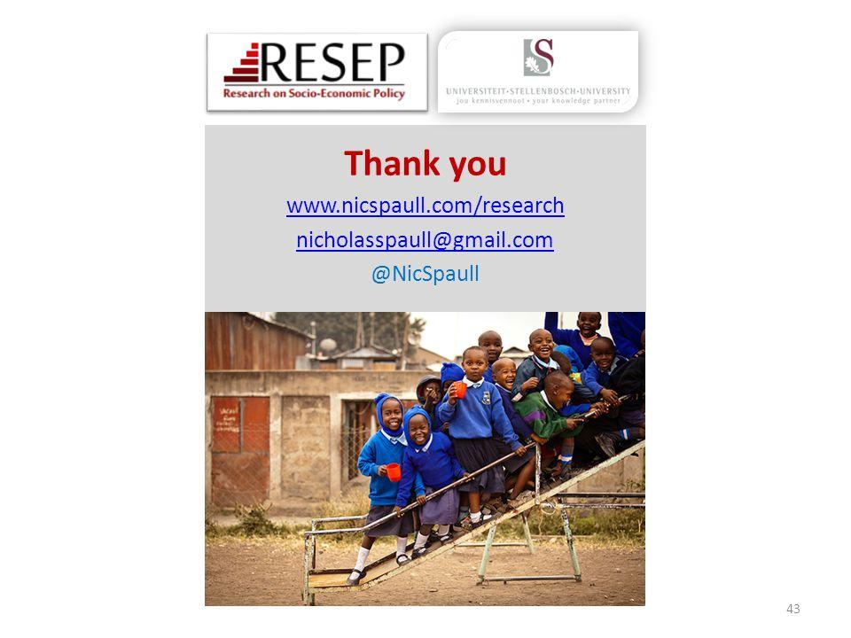 Thank you www.nicspaull.com/research nicholasspaull@gmail.com