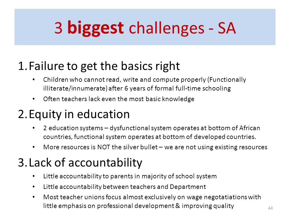 3 biggest challenges - SA