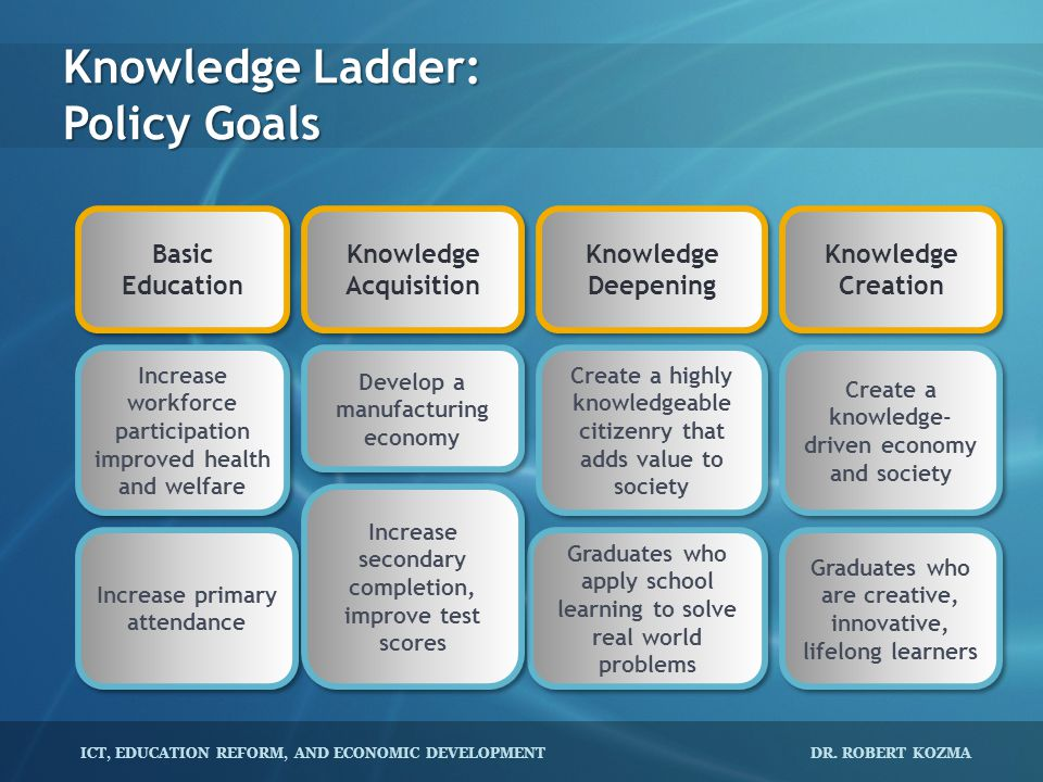 Knowledge Ladder: Policy Goals