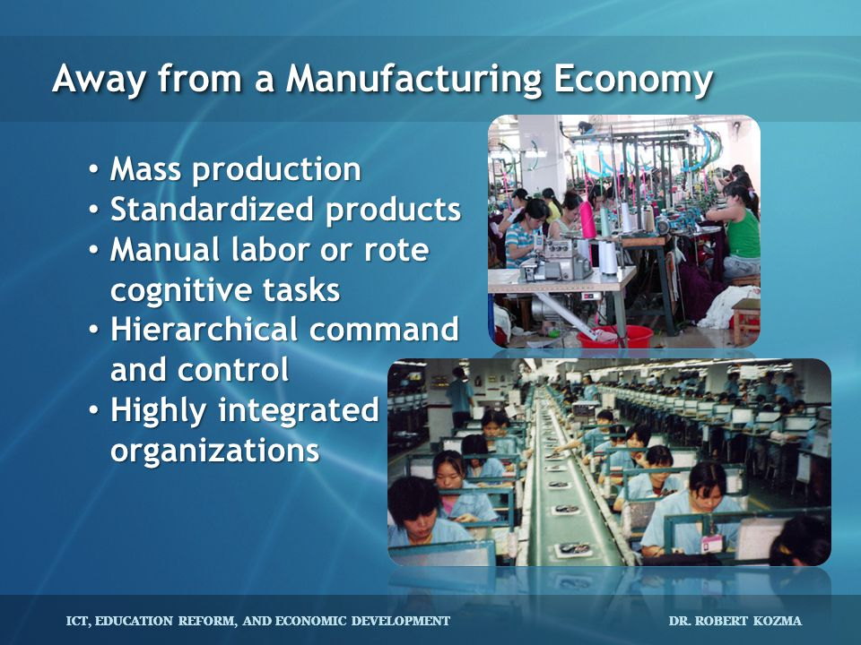 Away from a Manufacturing Economy