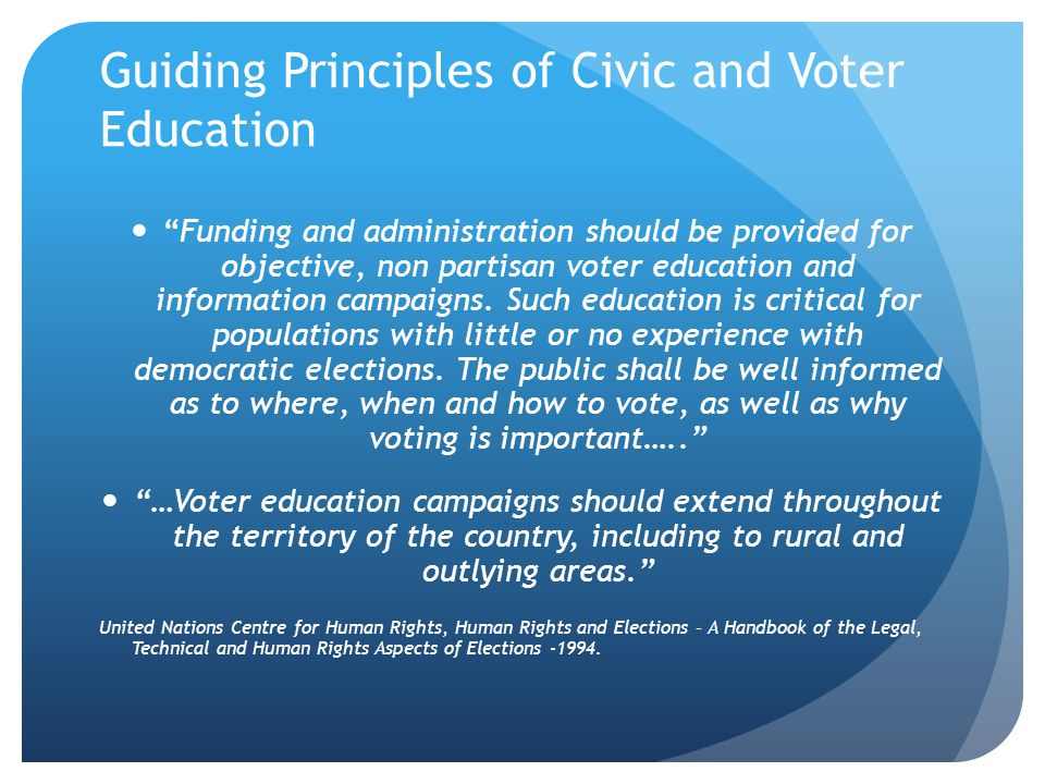 Guiding Principles of Civic and Voter Education