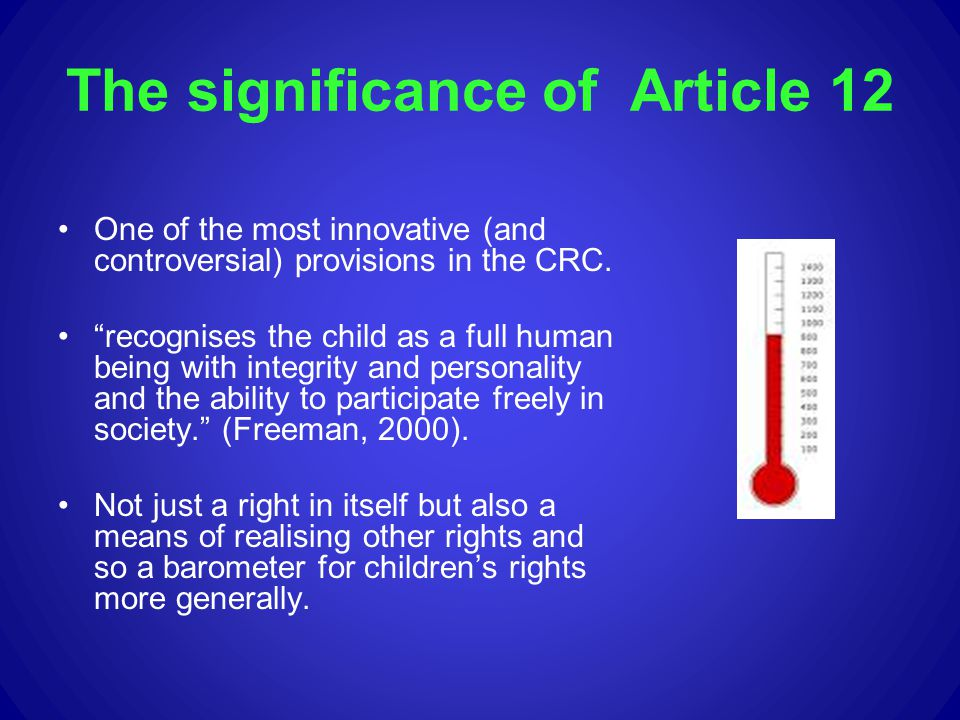 The significance of Article 12