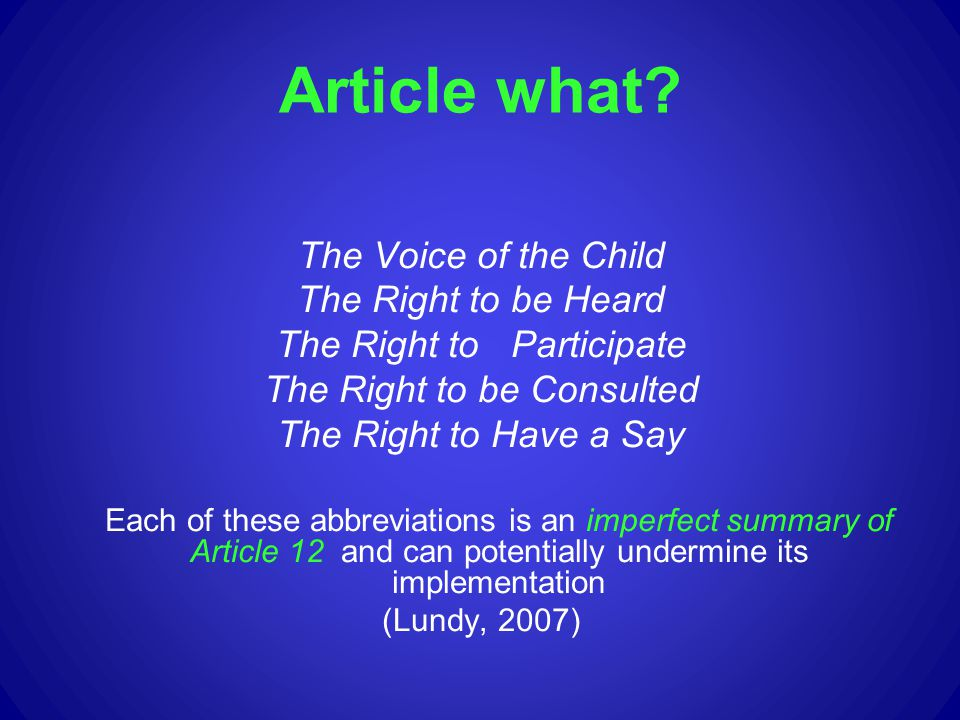 Article what The Voice of the Child The Right to be Heard