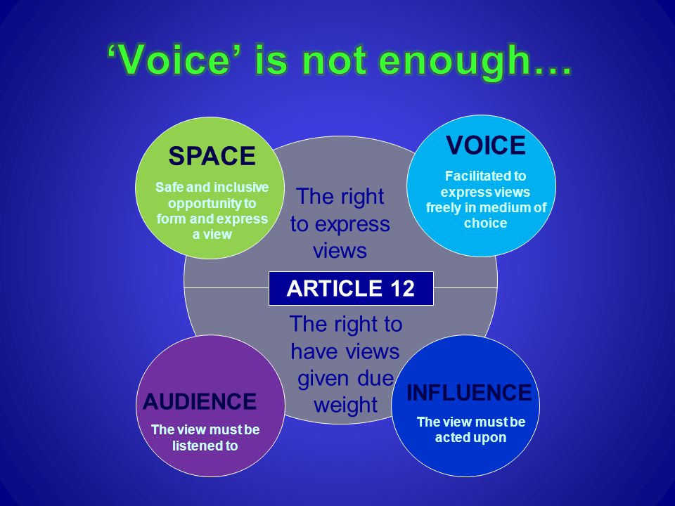 'Voice' is not enough… VOICE SPACE The right to express views