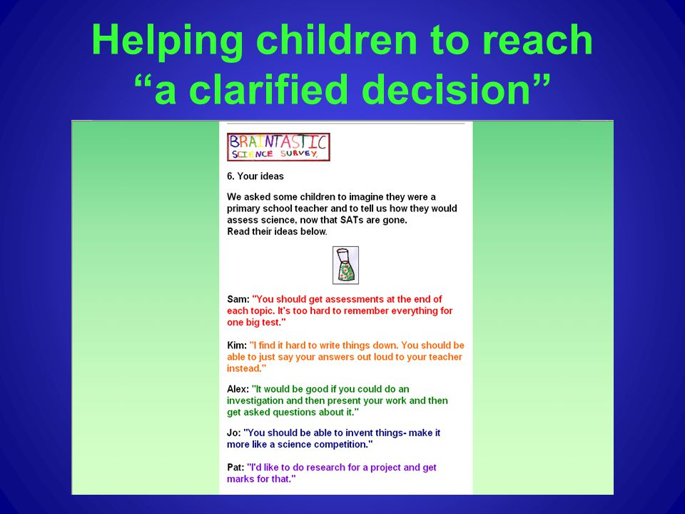 Helping children to reach a clarified decision
