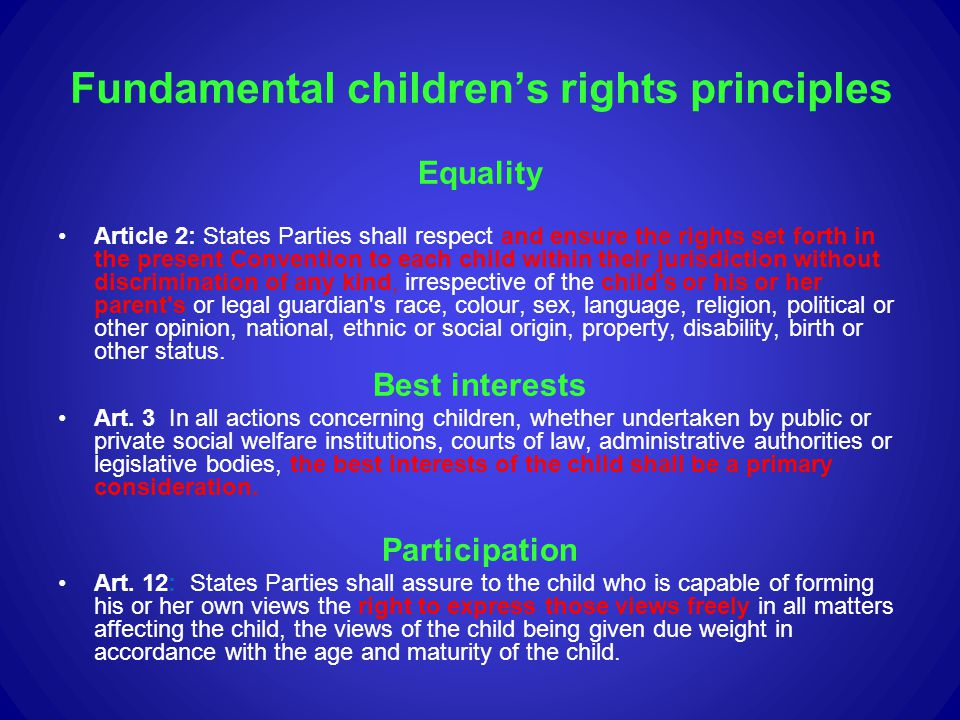 Fundamental children's rights principles
