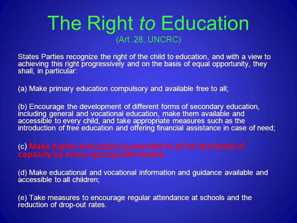 The Right to Education (Art. 28, UNCRC)
