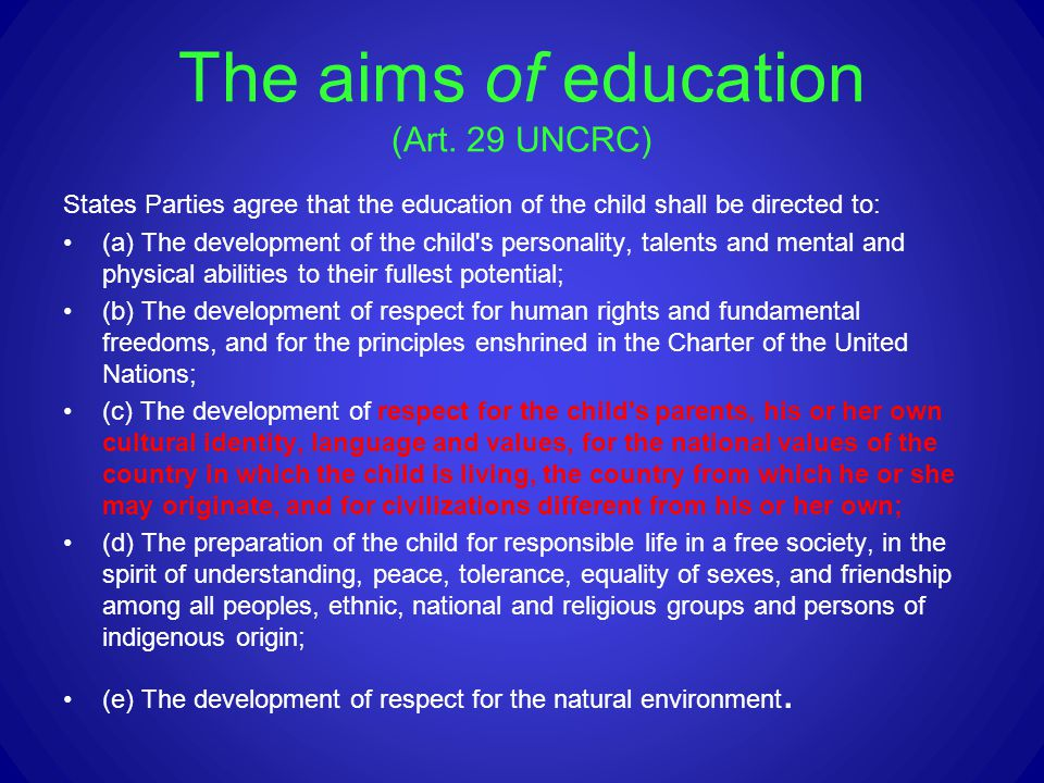 The aims of education (Art. 29 UNCRC)