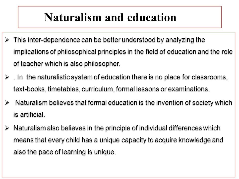 NdNaturalism and education education