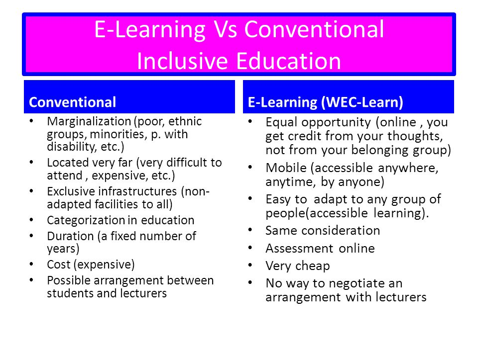 E-Learning Vs Conventional Inclusive Education