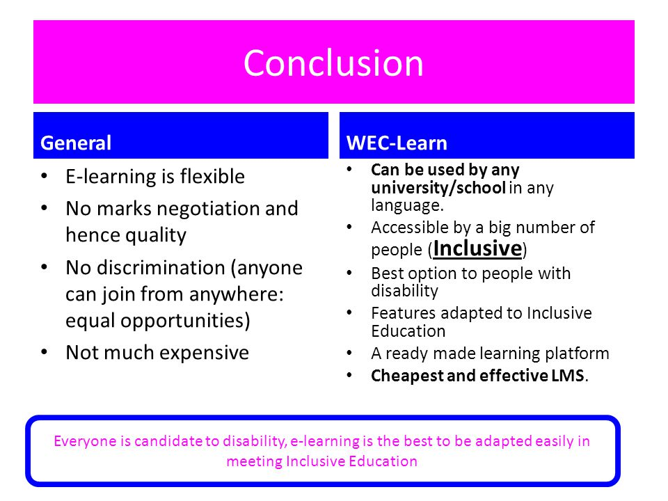 Conclusion General WEC-Learn E-learning is flexible