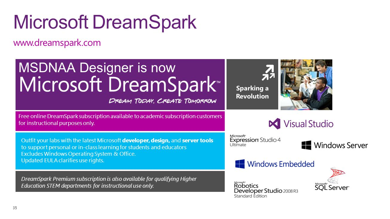 Microsoft DreamSpark MSDNAA Designer is now www.dreamspark.com