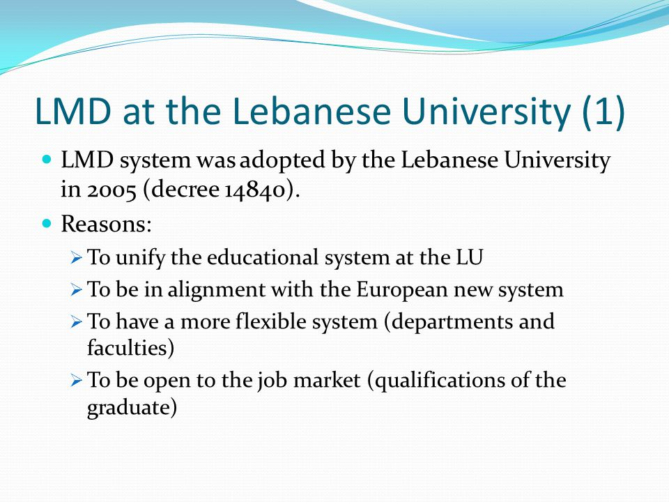 LMD at the Lebanese University (1)