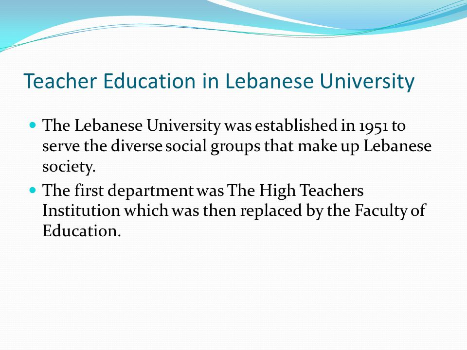 Teacher Education in Lebanese University