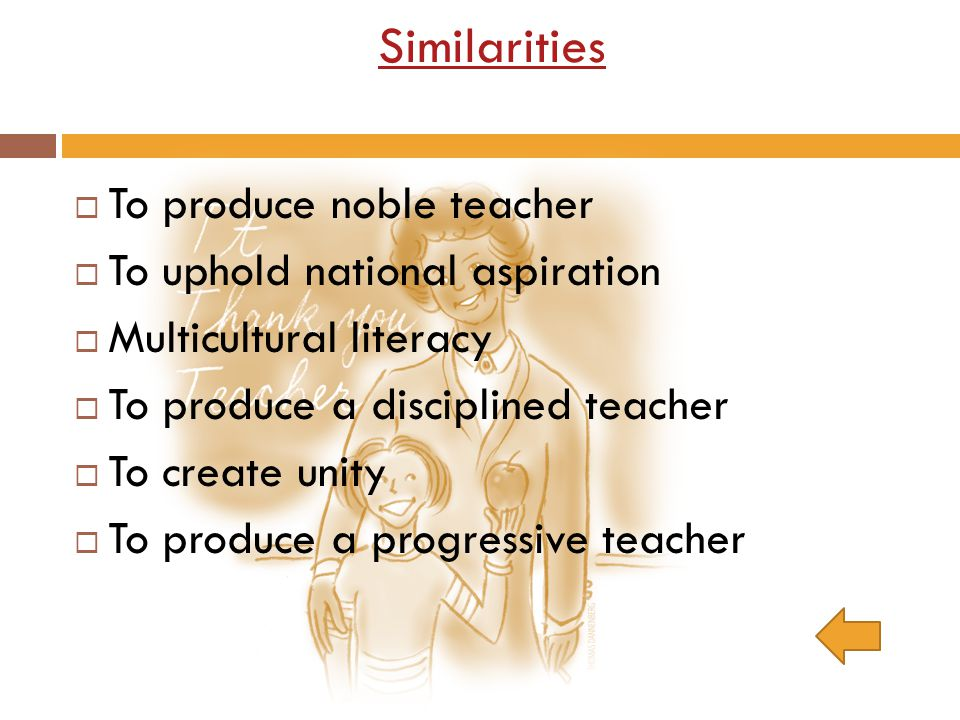 Similarities To produce noble teacher To uphold national aspiration