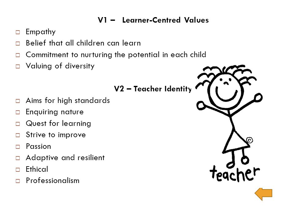 V1 – Learner-Centred Values