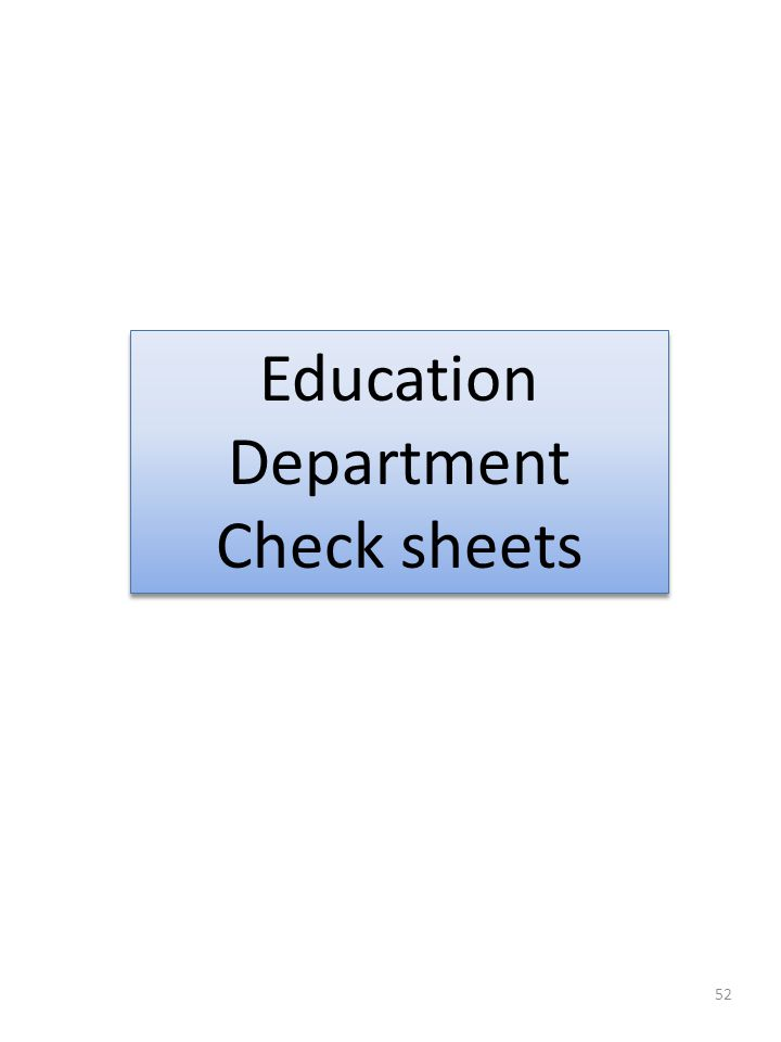 Department Check sheets