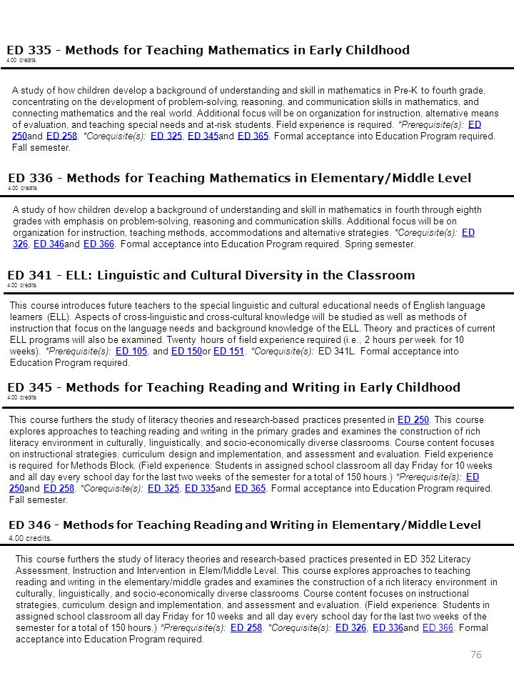 Education Classes ED 335 - Methods for Teaching Mathematics in Early Childhood. 4.00 credits.