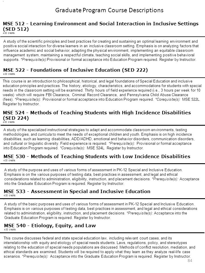 Graduate Program Course Descriptions