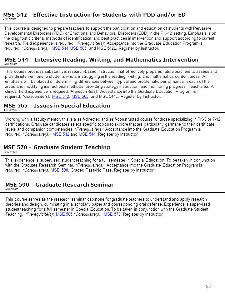 MSE 542 - Effective Instruction for Students with PDD and/or ED