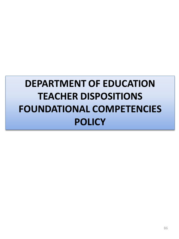 DEPARTMENT OF EDUCATION FOUNDATIONAL COMPETENCIES POLICY