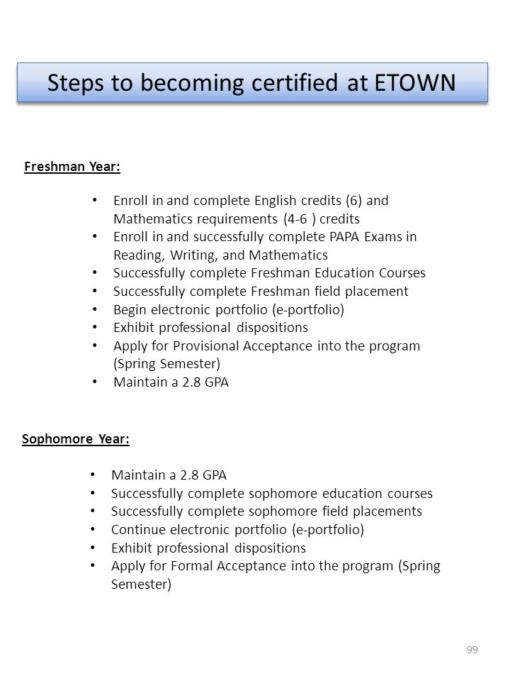 Steps to becoming certified at ETOWN