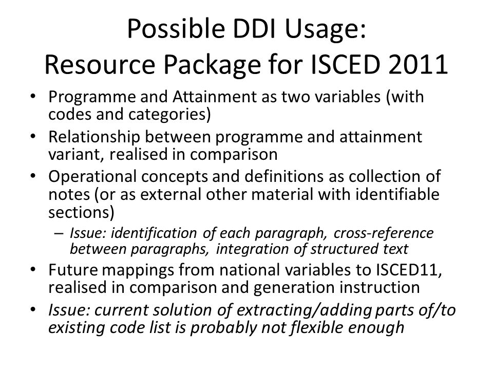 Possible DDI Usage: Resource Package for ISCED 2011
