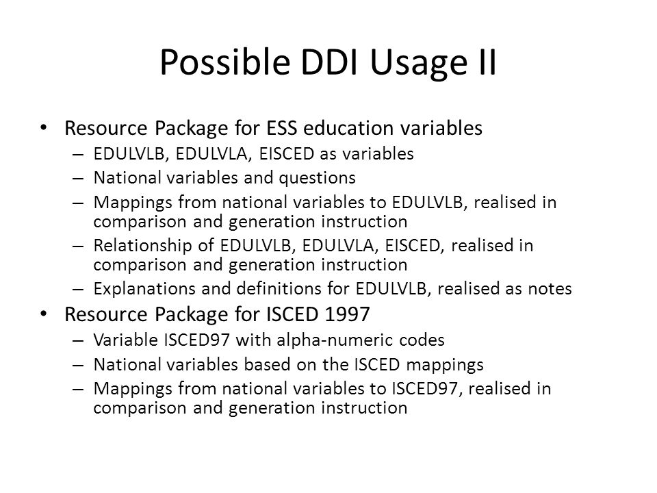 Possible DDI Usage II Resource Package for ESS education variables