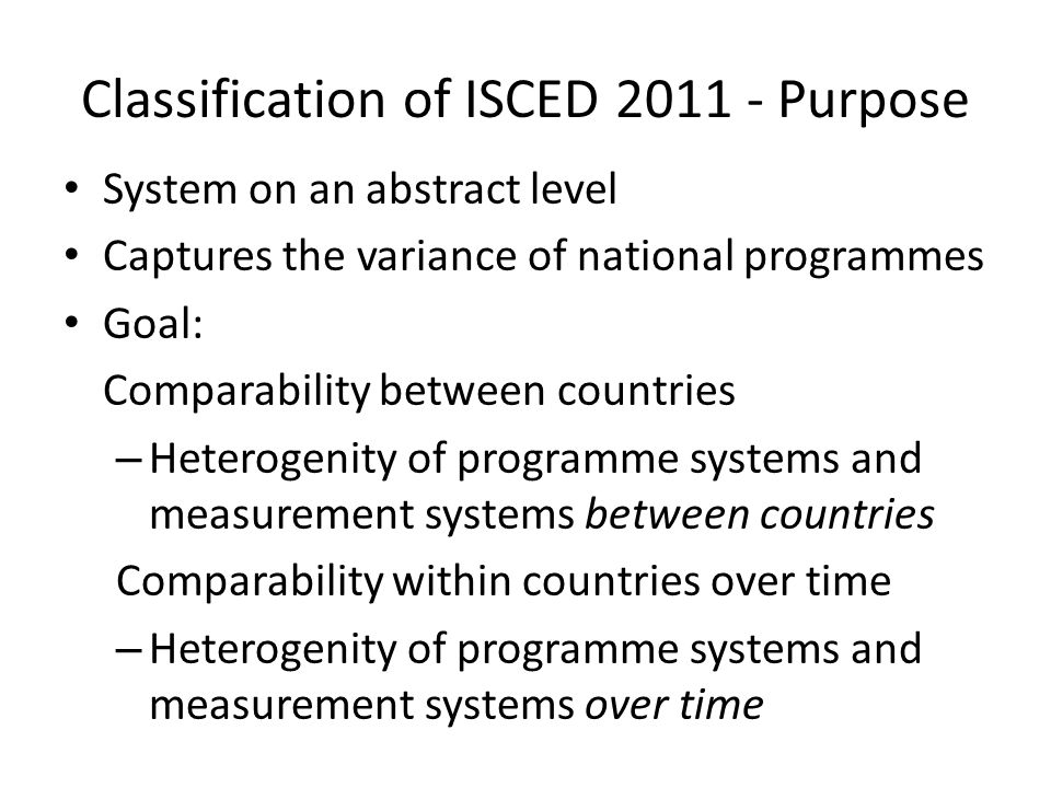 Classification of ISCED 2011 - Purpose