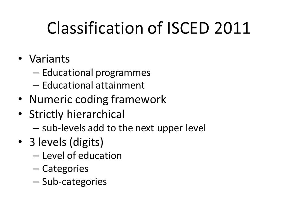 Classification of ISCED 2011