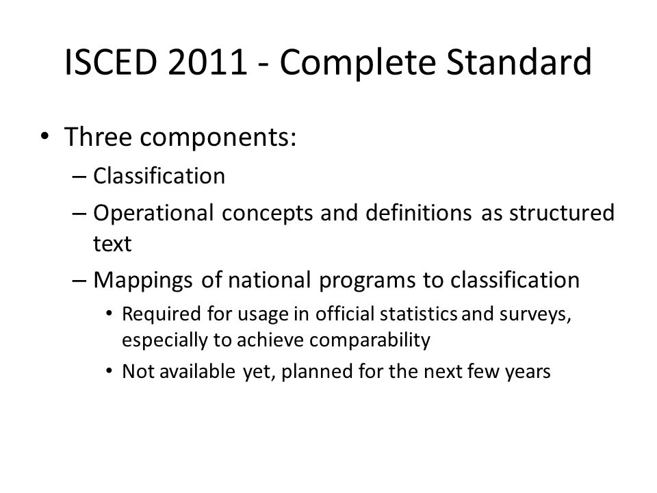 ISCED 2011 - Complete Standard