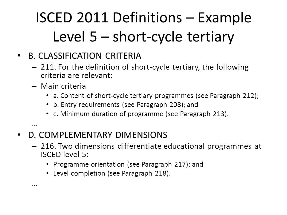 ISCED 2011 Definitions – Example Level 5 – short-cycle tertiary