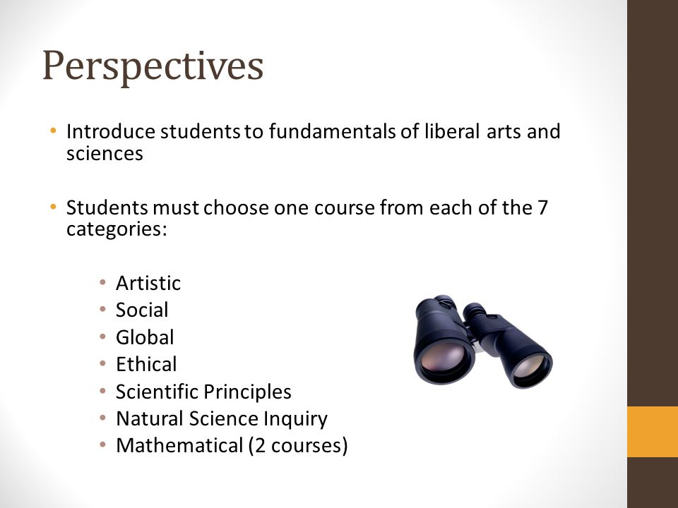 Perspectives Introduce students to fundamentals of liberal arts and sciences. Students must choose one course from each of the 7 categories:
